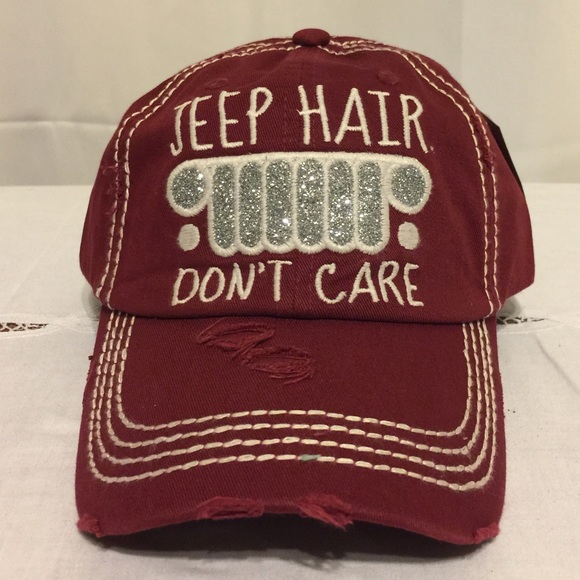f346f41e585 JEEP HAIR DON T CARE Baseball Cap Dark Red Hat. NWT. KBETHOS